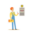 professional electrician man character screwing vector image vector image