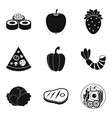 serving icons set simple style vector image vector image