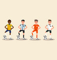 set characters soccer player vector image