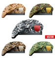 Set of Military Camo Beret Special Forces vector image vector image