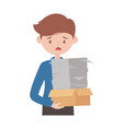 stressed employee cardboard box and papers stack vector image vector image