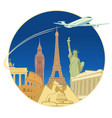 travel banner with tourist attractions and plane vector image vector image
