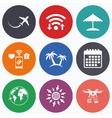 Travel trip icon Airplane world globe symbols vector image vector image