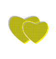 two hearts sign yellow icon with square vector image vector image