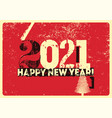 typographic grunge new year 2021 christmas card vector image vector image