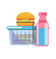 unhealthy school lunch with fat food isolated vector image vector image