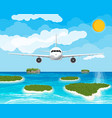 view aircraft in sky tropical islands vector image