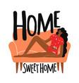 woman lying on orange sofa home sweet home vector image vector image