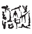 yoga poses silhouettes vector image vector image