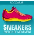 Flat sport sneakers background concept desi vector image