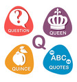 cute alphabet in q letter for question vector image