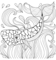 Zentangle Whale in waves Freehand sketch for adult