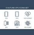 6 cpu icons vector image vector image