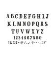 alphabet calligraphic serif font unique vector image