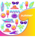 background with stylized summer objects abstract vector image