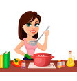 beautiful woman cooking in her kitchen vector image
