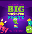 big monster party card invitation poster vector image vector image