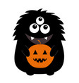 black monster silhouette holding pumpkin cute vector image