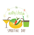 Bright smoothie with fruits and vegetables vector image vector image