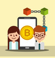 businessman agent woman smartphone bitcoin vector image vector image