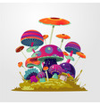 cartoon fantasy mushroom background fantasy vector image