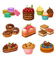 cartoon sweet products elements set vector image vector image