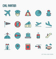 civil aviation thin line icons set vector image vector image