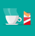 coffee cup and package cigarettes vector image vector image