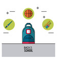 color poster of back to school with backpack in vector image vector image