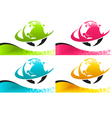Colorful Earth Logo Icons with Banners vector image vector image