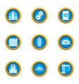 commercial growth icons set flat style vector image vector image