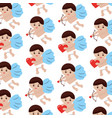 cupid holding heart love romantic pattern design vector image vector image
