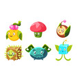 cute funny monsters set fantasy plants characters vector image vector image