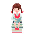 cute school girl character reading book vector image vector image