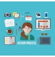 Design concept with objects and devices vector image vector image