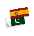 flags pakistan and spain on a white background vector image
