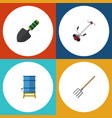 flat icon farm set of grass-cutter container vector image vector image