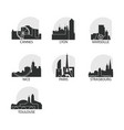 france cities icons set skyline logo pack vector image vector image