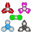hand spinner toys with floorball ball flat vector image
