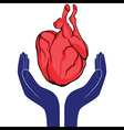 Hands and heart Icon of kindness and charity