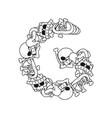 letter g skeleton bones font anatomy of an vector image vector image
