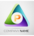 Letter P logo symbol in the colorful triangle vector image vector image