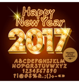 Lght up golden Happy New Year 2017 greeting card vector image vector image