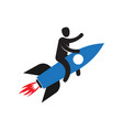 man flying on rocket successful development vector image