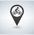 man on bike map pin pointer concept of biking vector image