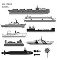 military ships warship and battleship on white vector image
