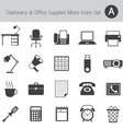 Office Supplies and Stationery Mono Icons Set vector image