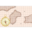 Old map imitation with golden compass vector image
