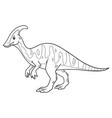 parasaurolophus cartoon bw vector image vector image