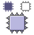 pixel icon central processing unit in three vector image vector image